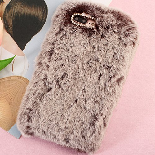 iPhone6S Art Cover, Handmade Fluffy Villi Wool Cute Ball Tail Winter Warm Soft Custodia, TAITOU Beautiful Special Full Wool Design Light Slim Protection Phone Cover For Apple iPhone 6 Brown BBrown