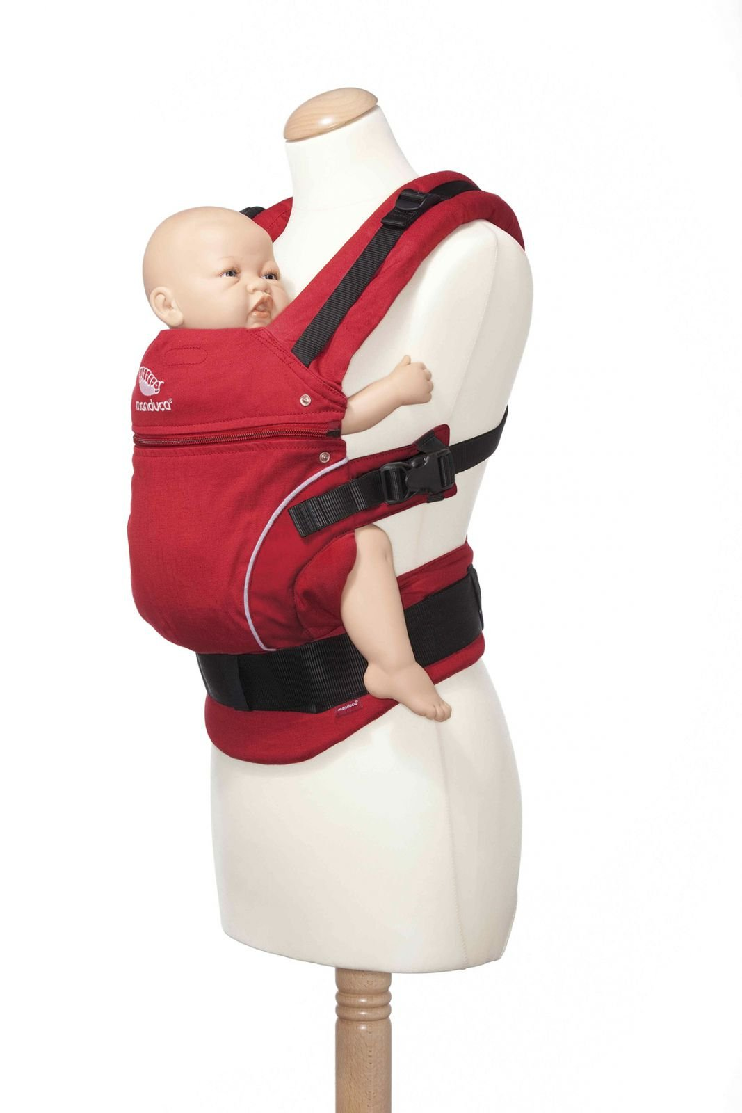 Manduca 3-in-1 Pure Cotton Baby Carrier (Chili Red) Manduca 3-in-1 soft structured baby carrier that supports baby in the healthiest position Made from 100% organic cotton Suitable from newborn to pre-schooler taking a weight of 45lbs. 8