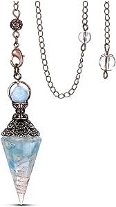 CrystalTears Pendolo Vintage in Chakra Pietra Vera Naturale e Pendente in Resina per Divinazione Radioestesia Cristallo Terapia Bronzo