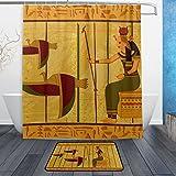 JSTEL Ägyptisches Papyrus und hieroglyph 3-teilig Badezimmer Set, waschbar, für den täglichen Gebrauch, 60x 40cm, wasserdicht, mit 12Haken, Anti-Rutsch,