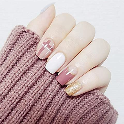 YuNail 24 Pcs Glitter Gold White Pink Square Short Full Cover False Nail with Glue Stickers and Mini File