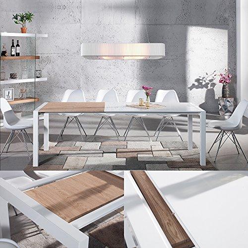 CAGÜ – Design ESSTISCH [Tokyo] Weiss Hochglanz & ECHT Eiche-FURNIER 135-175-215cm ausziehbar