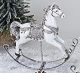 Cavallo a dondolo Statua decorativa cavallo bianco argento dipinta a mano 25cm Natale decorazione invernale di formano