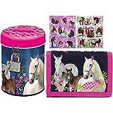 3 tlg. Pferde Set - Geldbörse + Spardose + 16 Pferde Sticker - Geldbeutel