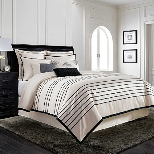 ull/Queen Bettbezug in creme/schwarz, baumwolle, weiß, King Size ()
