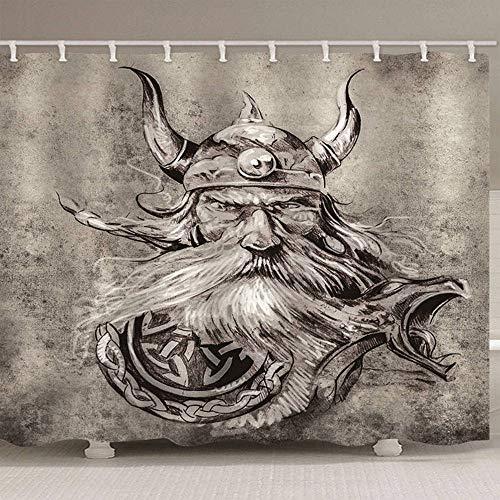 3D-Effekt Duschvorhang Monster Wasserdicht Mehltaubeweis Umweltfreundlich Geruchlose Badezimmerdekoration 12 Haken, 150 (B) X 180 (H) cm