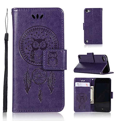 BestCatgift Wallet Hülle Touch 5/6 Flip Cover with Owl Imprint Technology and [Kickstand][Wrist Strap] für Appel iPod Touch 5 6 - Purple Ipod Touch-strap