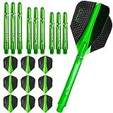 Harrows Retina Kit de 9ailettes standards et tiges ergonomiques 3formats pour fléchettes–Vert