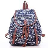JameStyle26 Elefant Vintage Rucksack Tasche Boho Canvas Stoff Backpack Damentasche Sack Unisex (Dunkelblau Weiß)
