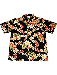 "Chemise Hawaienne Homme ""Summer Flowers (black)"" taille M – 6XL, noir"