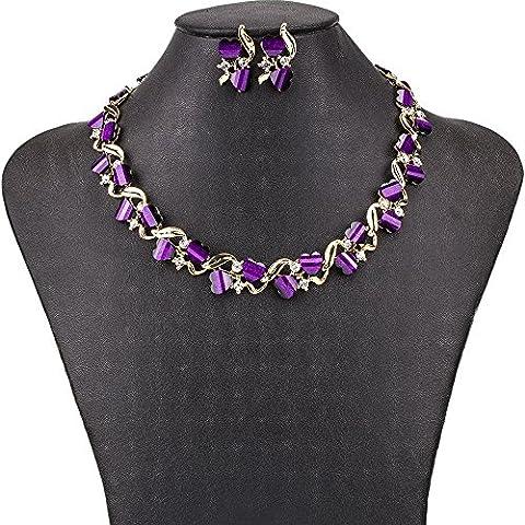 pygex (TM) ms1504491Fashion Set di gioielli di alta qualità 6colori collana Set per le donne matrimonio placcato oro resina crtstal unico cuore Design, 18K Gold plated