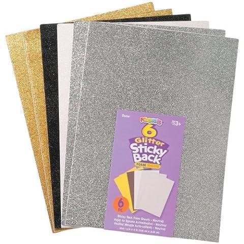 Darice Faom Glitter Sticky Back Foam Sheets 9-inch x 12-inch 6/Pkg-Neutrals