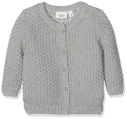 NAME IT Baby-Mädchen Strickjacke Nitfrans LS Knit Card Mznb Ger, Grau (Grey Melange Grey Melange), 56