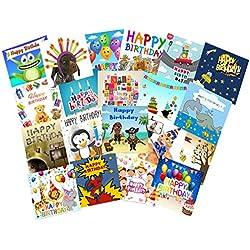 Geburtstagskarten für Kinder, englischsprachig, 20 Stück