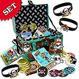 geburtstagsfee Gefüllte Piraten-Schatz-Kiste für Piratenparty oder Piraten-Kindergeburtstag für Junge und Mädchen, 71-teilig für 8 Kinder, Mitgebsel-Set perfekt zur Schatzsuche