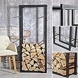 Melko robustes Kaminholzregal für Brenn- und Feuerholz, freistehender Holz-Ständer, aus Eisen, 150 x 60 cm - mit Gumminoppen für den Bodenschutz