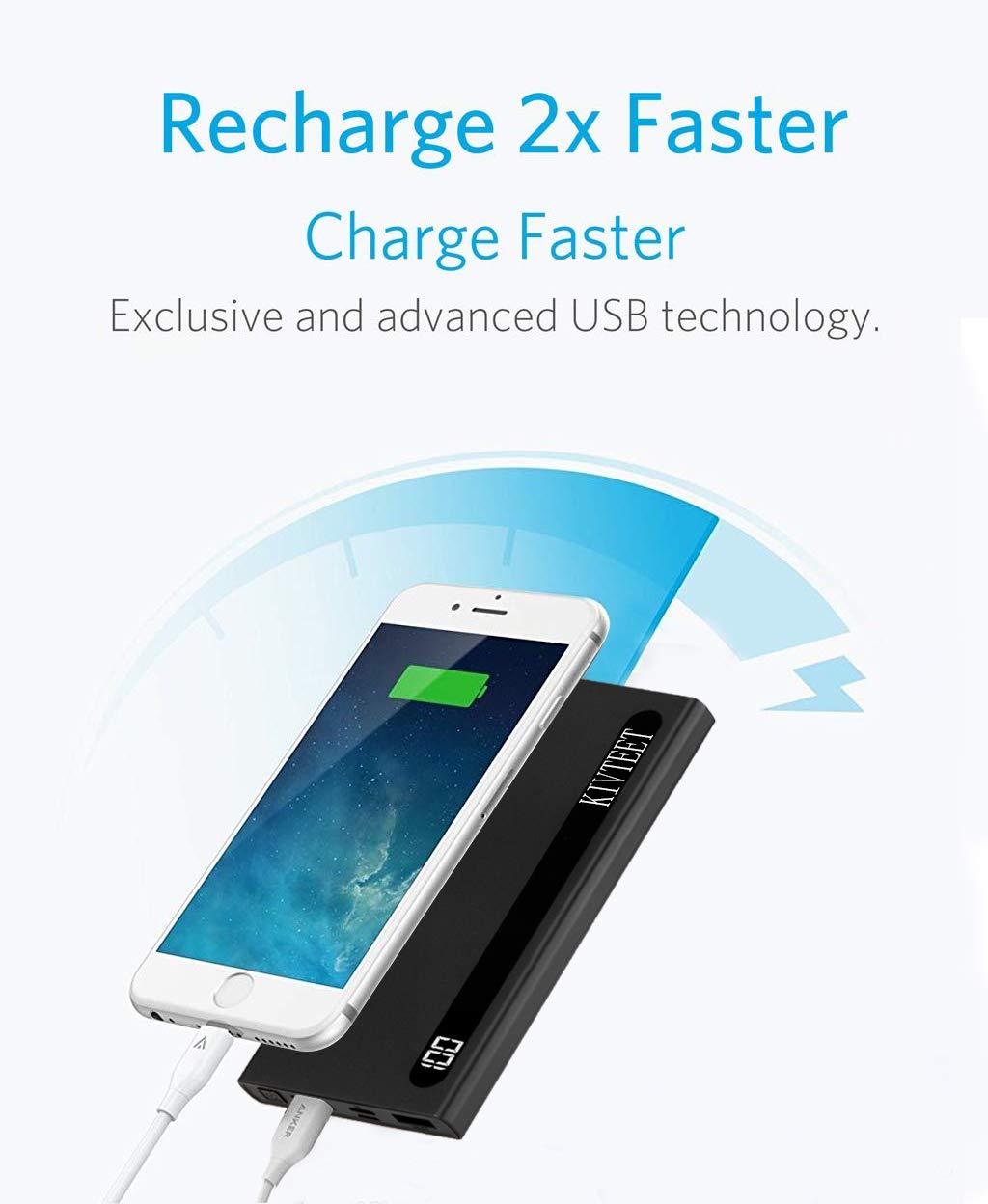 KIVTEET Power Bank 20000mah Carica Rapida Caricatore Portatile Display Digitale Batteria Esterna 2 Porta USB Batteria… 4 spesavip