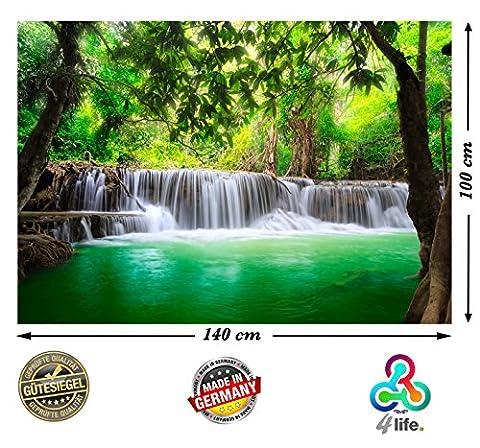 PMP-4life Wandbild Wasserfall in Thailand Natur HD XXL Poster 140cm x 100cm Hochauflösende Wanddekoration Bild für Wandgestaltung | Fotoposter Landschaft Bäume Wasser Dschungel | + GRATIS