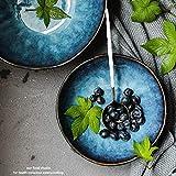 SLW Obstsalat Schüssel Balck Keramik Japanischen Blau Müsli Rührschüssel Große Geschirr Pasta für Restaurant Serving 7 Zoll,7 Zoll