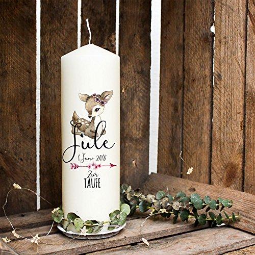 ilka parey wandtattoo-welt Taufkerze Kerze zur Taufe oder Geburt Kommunionkerze REH mit Pfeil Blüten & Wunschname wk20
