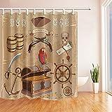 Rrfwq Adventure Pirat Schatzkarte Bad Vorhang Polyester Stoff Wasserdicht Duschvorhänge 180x 180cm Haken Enthalten Braun