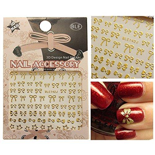 Bluelover 3D Golden Bowknot Stern Nail Art Sticker Aufkleber (Socke Sterne-zehe)