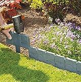 KING DO WAY 20 Stück Raseneinfassung Rasenkante Gepflasterten Garden Rasenkante Pflanze Beetumrandung Mähkante Palisade Kunststoffzaun Grau