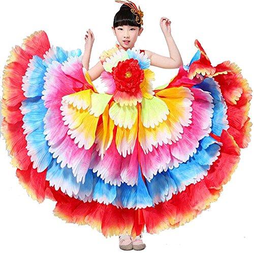 Byjia Kinder Flamenco Kleid Zeigen Kleidung Spanisch Rock Mädchen Moderne Tanz Big Swing Chorus Stierkampf 180 360 540 720 Grad Leistung , Seven 360 Color Skirt , 150Cm (Chorus Girl Kostüm)