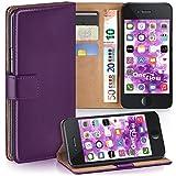 moex iPhone 6S Plus | Hülle Lila mit Karten-Fach 360° Book Klapp-Hülle Handytasche Kunst-Leder Handyhülle für iPhone 6 Plus / 6S + Plus Case Flip Cover Schutzhülle Tasche