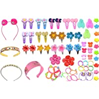 Rose Petals Baby Hair Band; Mix Style Tic Tac; Hair Clips; Pin; Elastics Ponytail Holder Hair Accessories for Girls with Gift Box; 67 Pieces/Set (Multicolour)