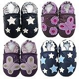 Carozoo Soft Sole Leder Baby Schuhe Crawling Schuhe Laufschuhe Krippenschuhe Enfants Pantoffeln Silver Star Dark Blue 12-18m
