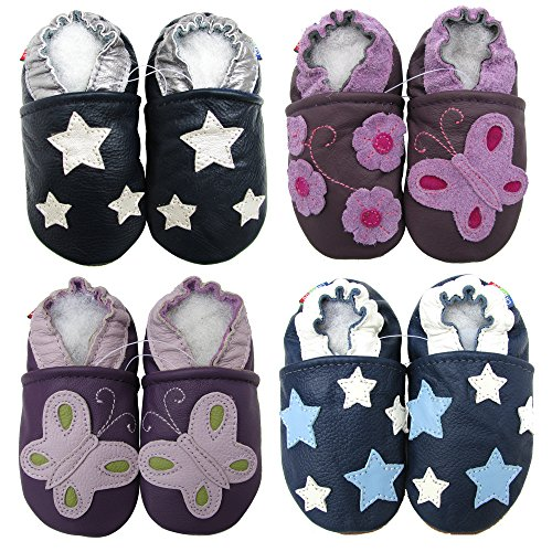 Carozoo Soft Sole Leder Baby Schuhe Crawling Schuhe Laufschuhe Krippenschuhe Enfants Pantoffeln Five Star Blue 12-18m
