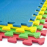 Interlocking EVA Foam Floor Mats And Edges - Playmat - Gym Tiles - Childrens Play Area Flooring Set - Multi - 3 Pack (12 Floor Mats)60x60cm