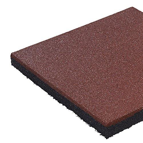 3x Tapis de protection anti-chute, en caoutchouc, différents coloris, 50 x 50 x 4,5 cm, ROT
