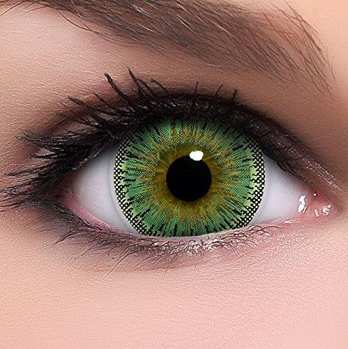 Linsenfinder Lenzera Circle Lenses grüne 'Dolly Green' ohne Stärke + Kombilösung + Behälter Big Eyes 15mm farbige Kontaktlinsen