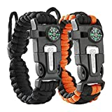 Cobra Survival Bracelet [pack of 2] - Paracord + Compass + Fire Starter + Loud Whistle + Emergency Knife - Hiking Camping Fishing Hunting Gear - Prepare to Survive WTSHTF - Color: black + black&orange