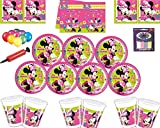 Disney Minnie Mouse Party Decoration Set-Piatti Tovaglioli Tovaglioli Tovaglia con Palloncino Gratis Candele Palloncino Pump-Serves 16 Ospiti