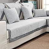 HM&DX Baumwolle Knitted Sofa Abdeckung Sofa Überwurf Multi-Size Anti-rutsch Schmutzresistent Einfarbig Sofahusse Für sektionaltore Couch-grau 110x160cm(43x63inch)
