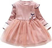 Baby Mädchen Löwenzahn Tüll Kleider Schön Blumen Prinzessin Kleid, Girls Langarm Strick Gestreifte Einfarbige Kleider Tüll Pa