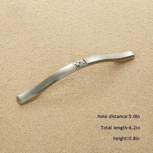 Griffgarderobe Griff Silber Gebürstet Kommode Im Europäischen Stil Moderner Minimalistischer Schranktürgriff,Doublewhite-5.0in