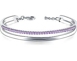 THEHORAE Bracelet Or Rose pour Les Femmes Manchette en Cristal Bracelet Cadeaux de Graduation pour Elle