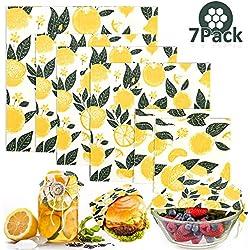 Poscoverge Lot de 8 Paquets de Cire d'abeille réutilisables pour la Cire d'abeille Biologique pour Emballage Alimentaire Naturel et Alimentaire Citron et Feuilles