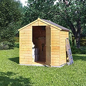 61093qvLuQL. SS300  - BillyOh 4x6 Value Overlap Wooden Storage Shed Windowless Single Door Apex Roof & Felt Garden Sheds 4Ft 6FT