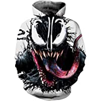 EUDOLAH Men's Long Sleeve Sweatshirts Neon Printed Hoodies 3D Graphic Jumpers Animal Sportswear
