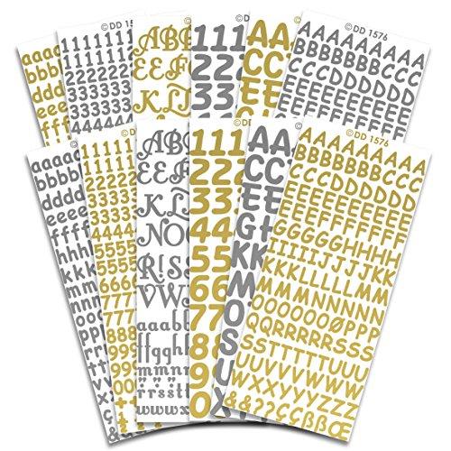Peel Off Stickers Abziehen Aufkleber Buchstaben und Zahlen CPD 1031, Aufkleber, Mehrfarbig, 23x 10x 1cm -