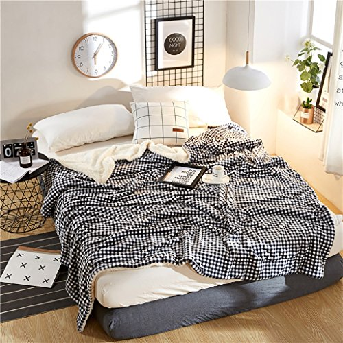 Max Home Kleine quadratische Decke 100% Polyester A B Decke Lace Trim für Sofa/Bett / Auto/Feld (Farbe : Schwarz+Weiss, größe : 200 * 230cm) -