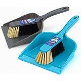 MR.SIGA Dustpan and brush set - Pack of 2, Blue & Grey