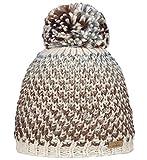 Nordbron3128 Carin Warme und stylische Bommel-Mütze in modischem Design und tollen Farben.Dickes und buntes Garn für den besonderen Look. Fleece Lining.Braun (c018 beige), onesize