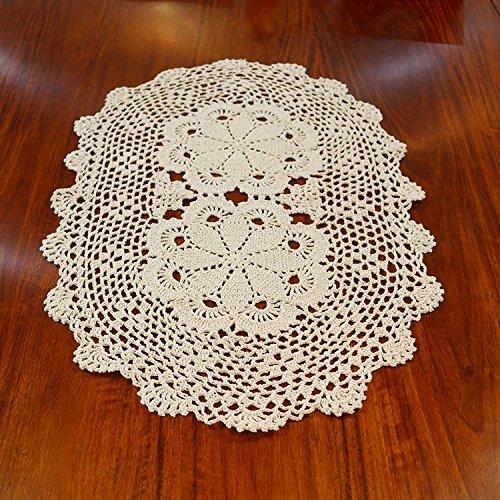 USTIDE Campagne Crochet coton Table Sets de table napperons en dentelle Nappe ovale pour table basse 40,6x 61cm, beige, Size:oval 14.7*23.6 inches(40*60cm)