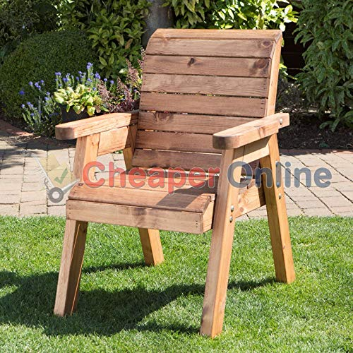 Charles Taylor Trading Hand Made Traditional Chunky Rustic Wooden Garden Chair Furniture